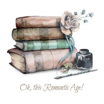 Illustrazione disegnata a mano dell'acquerello di vecchi vecchi libri, fiore rosa e calamaio