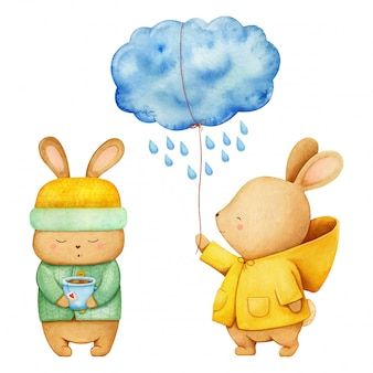 Illustrazione disegnata a mano dell'acquerello di un coniglio soddisfatto in cappotto giallo che tiene una nuvola piovosa e una piccola lepre con il cappello di pelliccia giallo e un maglione verde che beve il tè