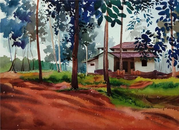 Paesaggio dell'acquerello disegnato a mano con un'illustrazione della casa