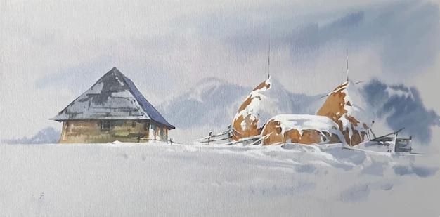 Paesaggio dell'acquerello disegnato a mano con montagne e illustrazione della casa Vettore Premium