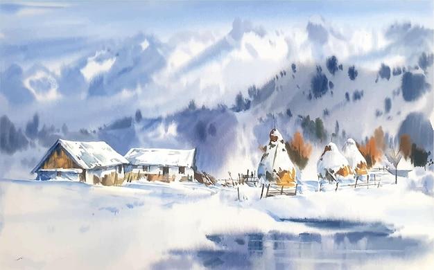 Paesaggio dell'acquerello disegnato a mano con montagne e illustrazione della casa