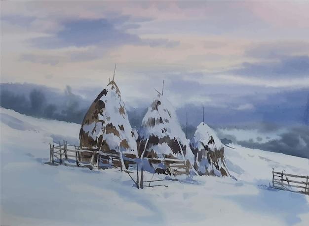 Paesaggio dell'acquerello disegnato a mano con montagne e casa