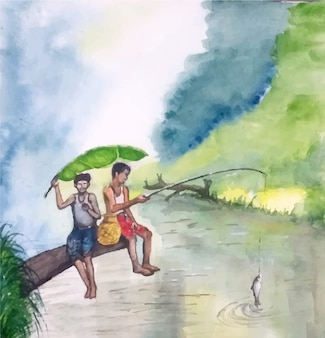 Paesaggio dell'acquerello disegnato a mano con persone che pescano