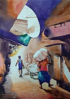 Uomo e persona dell'acquerello disegnato a mano nell'illustrazione della città