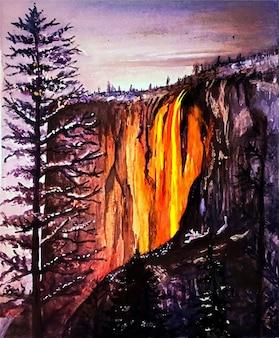Vista del paesaggio di montagna dell'acquerello disegnato a mano