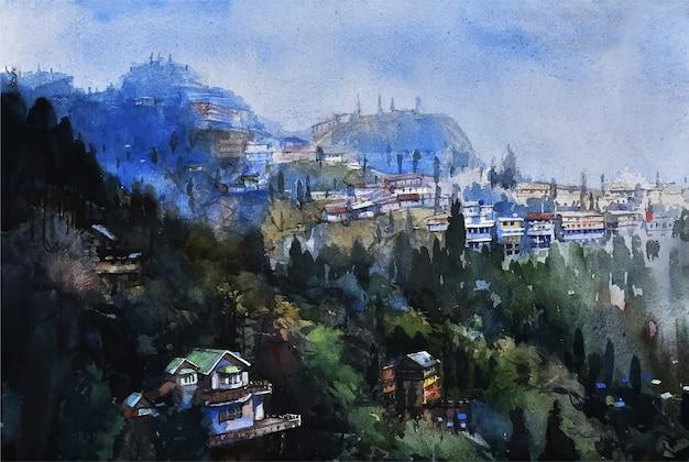 Natura dell'acquerello disegnato a mano e casa del villaggio