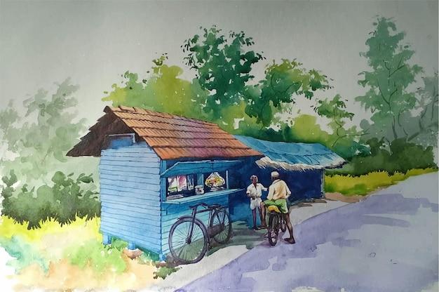 Vecchia casa colonica dell'acquerello disegnato a mano nell'illustrazione di boschi