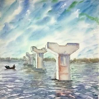 Barca di pittura ad acquerello disegnata a mano sul fiume e pilastri dell'illustrazione del ponte