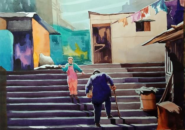 Persona dell'acquerello disegnato a mano che si siede sull'illustrazione delle scale