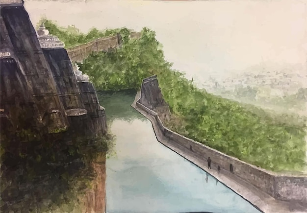 Illustrazione disegnata a mano della scena del mare e della montagna dell'acquerello