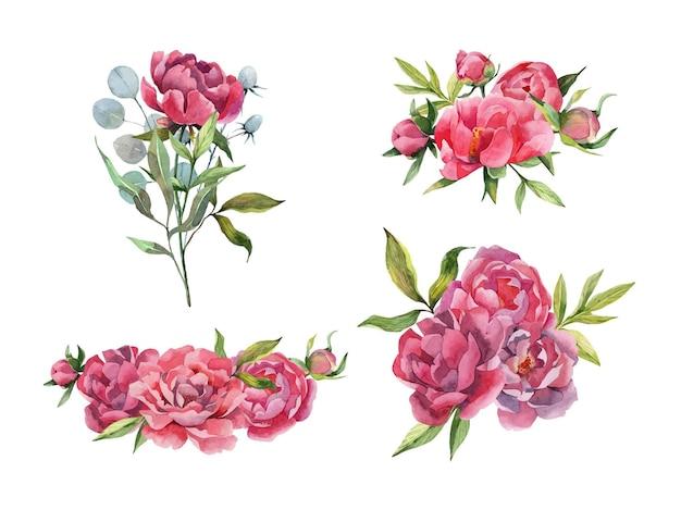 Set acquerello disegnato a mano di mazzi di peonie composizioni floreali