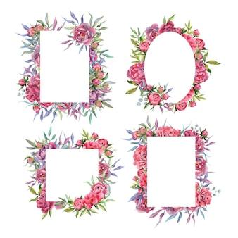Set acquerello disegnato a mano di cornici e bordi di peonia mazzi di fiori e arrangiamenti