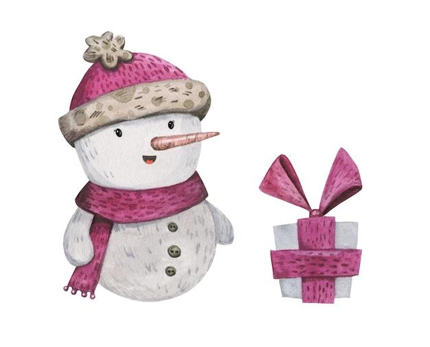 Acquerello disegnato a mano con pupazzo di neve in stile cartone animato in una sciarpa di lana rosa, cappello con pom pom e presente.