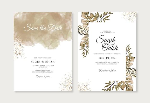 Spruzzata dell'acquerello disegnato a mano e foglie per modello di invito a nozze