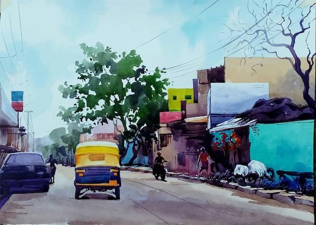Via dell'acquerello disegnato a mano nell'illustrazione della città