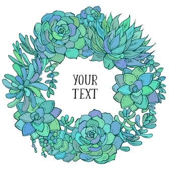 Corona succulenta dell'acquerello disegnato a mano su carta sfondo bianco per saluto o invito, illustrazione.