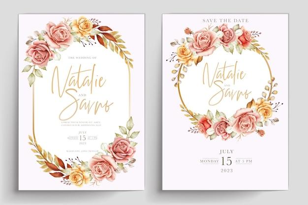Set di carte floreali estive acquerello disegnato a mano
