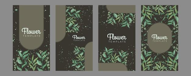 Carta di invito floreale estate acquerello disegnato a mano. bellissimo modello di post sui social media per biglietti di auguri floreali e foglie morbide