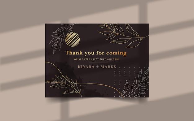 Modello di biglietto di ringraziamento dell'acquerello disegnato a mano