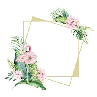 Florarium tropicali dell'oro dell'acquerello disegnato a mano con il fenicottero. illustrazioni esotiche di cornici in oro per testo, giungla esotica