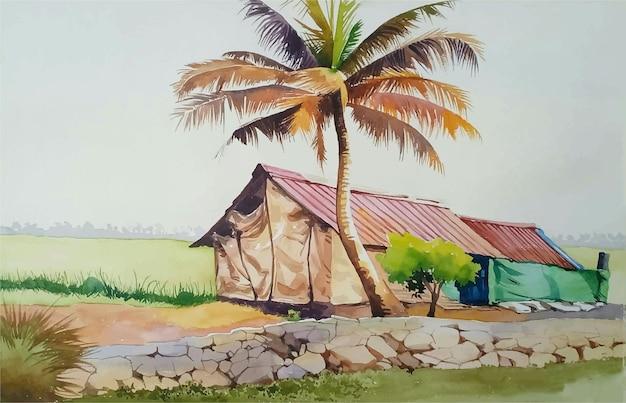 Isola tropicale dell'acquerello disegnato a mano con illustrazione di alberi