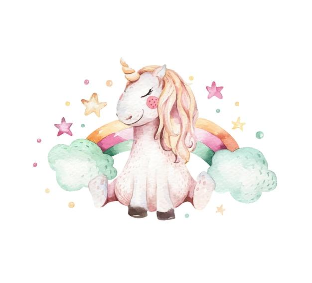 Illustrazione disegnata a mano dell'acquerello unicorno. unicorno sveglio isolato dell'acquerello illustrazione di unicorno unicorno principessa