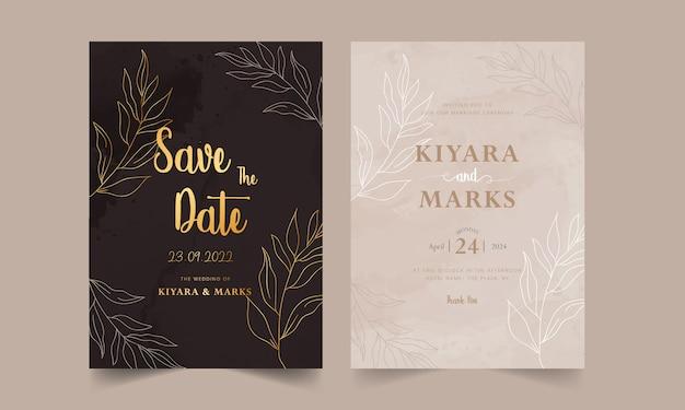 Modello di carta di nozze dell'acquerello disegnato a mano