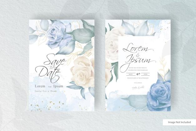 Modello di invito a nozze acquerello disegnato a mano con composizione floreale