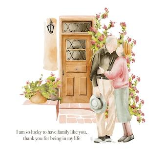 Illustrazione disegnata a mano dell'acquerello della coppia di anziani vicino alle porte del giardino