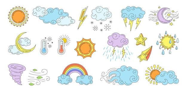 Fumetto del tempo disegnato a mano impostato con nuvole e sole
