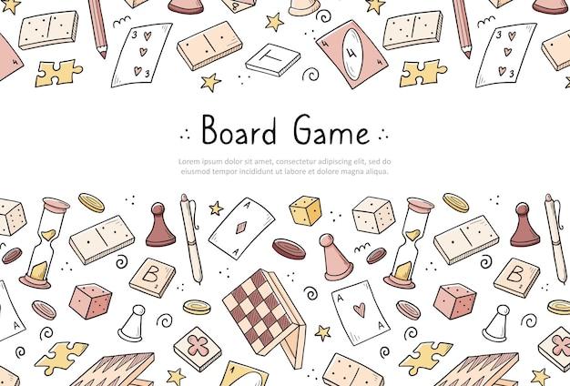 Modello di banner sito web disegnato a mano con elemento di gioco da tavolo. stile di schizzo di doodle.