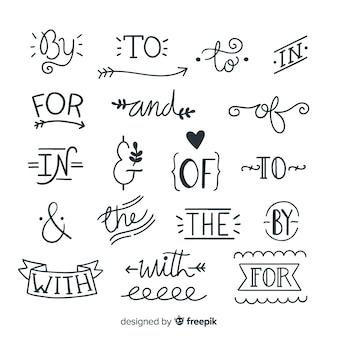 Collezione di slogan di nozze disegnati a mano