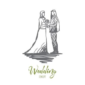 Schizzo di concetto di matrimonio, sposo e sposa disegnato a mano.