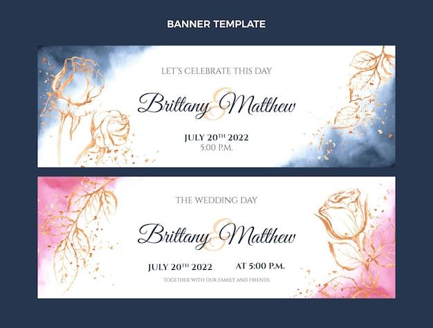 Bandiere orizzontali di nozze disegnate a mano