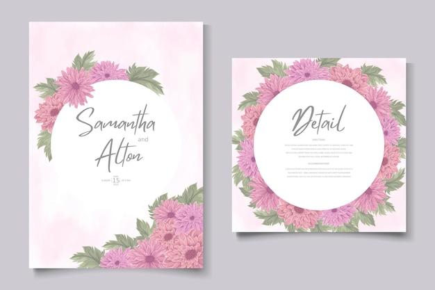 Disegno di invito a nozze disegnato a mano con bellissimo fiore di crisantemo