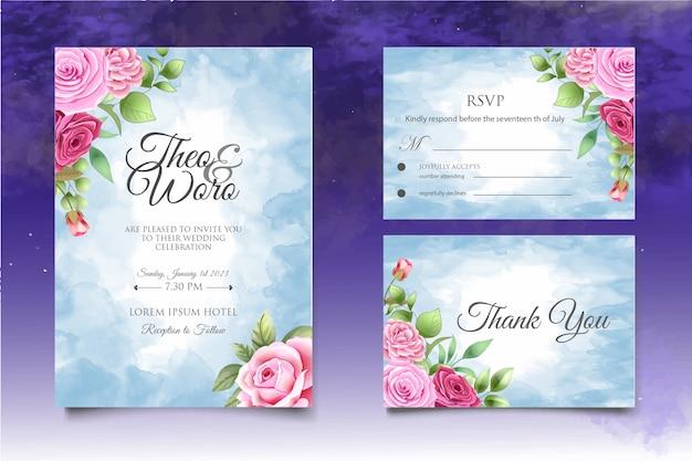 Invito a nozze disegnato a mano floreale e foglie di carta templa