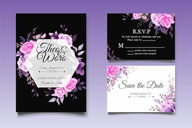 Modello di carta floreale e foglie di invito a nozze disegnati a mano