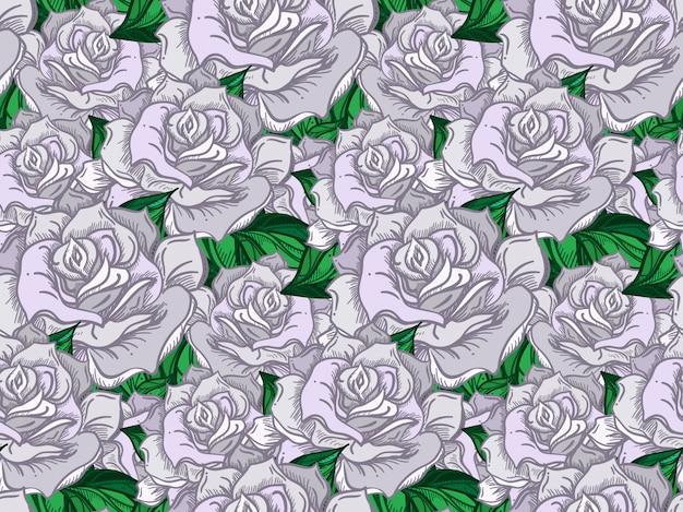 Disegnato a mano matrimonio rose seamless pattern