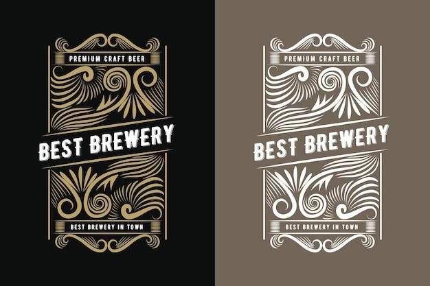 Etichetta con cornice per bottiglia retrò vintage reale stile occidentale disegnata a mano adatta per birra artigianale vino whisky bevande bevanda liquore bar ristorante