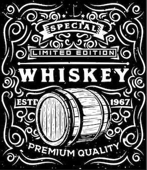 Barilotto di legno di whisky disegnato a mano ed elementi calligrafici floreali