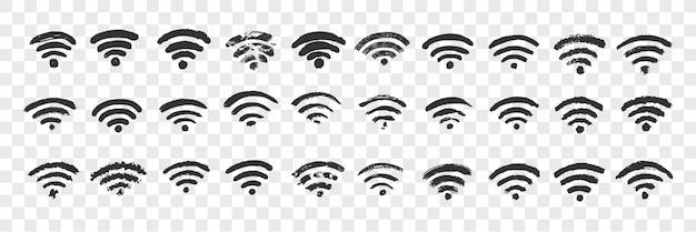 Insieme disegnato a mano di scarabocchio del segno di wifi