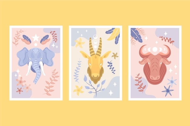 Collezione di copertine di animali selvatici disegnati a mano