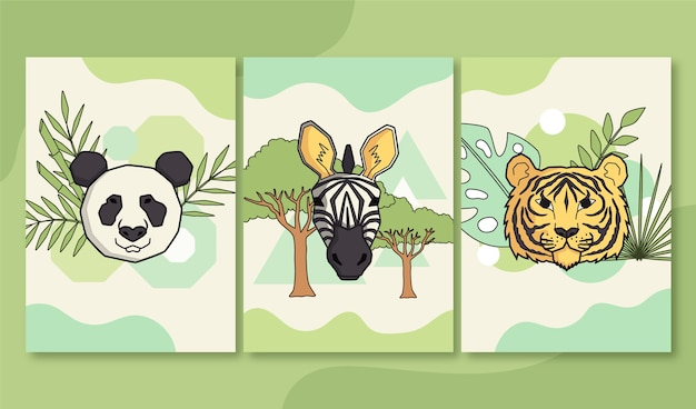 Copertine di animali selvatici disegnati a mano