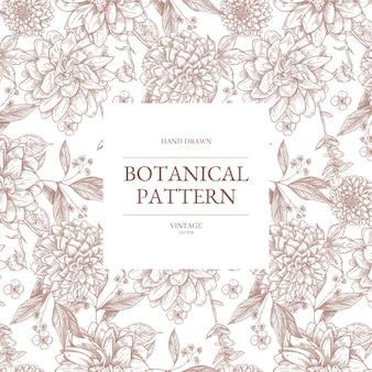 Modello botanico vintage di fiori selvatici disegnati a mano