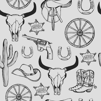 Modello senza cuciture occidentale selvaggio west disegnato a mano. cappello da cowboy, stivali da cowboy, pistola, stella dello sceriffo, ferro di cavallo,