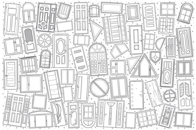 Insieme disegnato a mano di doodle di windows e porte