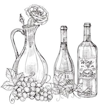Decantatore del vino disegnato a mano con rose, bottiglie di vino, illustrazione dell'uva