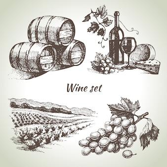 Set vino disegnato a mano
