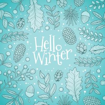 Sfondo invernale disegnato a mano