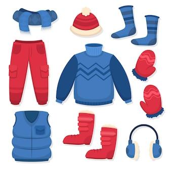 Pacchetto di vestiti invernali e essenziali disegnati a mano